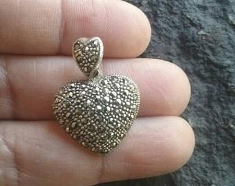 Vintage Marcasite Sterling Silver Pendant, Vintage Pendant, 925 Silver Pendant, Heart Pendant