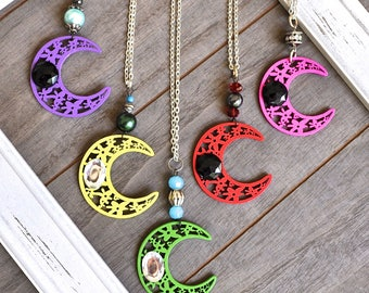 Large Crescent Moon Artisan Pendant Moon Necklace Pagan Wiccan Science Choose Your Magical Color
