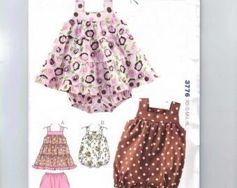 Kids Sewing Pattern Kwik Sew 3776 Baby Bubble Romper or Tiered Dress Sundress Summer Sleeveless Size 0 3 6 8 12 18 months UNCUT