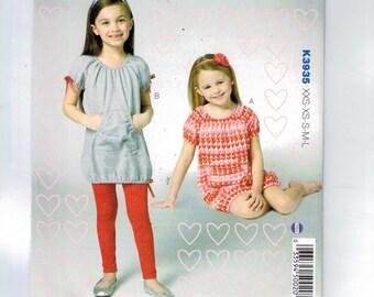 Kids Sewing Pattern Kwik Sew K3935 3935 Girls Dresses and Leggings Pullover Kangaroo Pocket Raglan Top Bubble Size 3 4 5 6 7 8 10 UNCUT