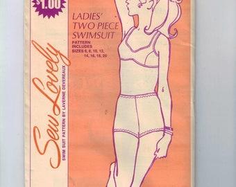 1970s Vintage Sewing Pattern Sew Lovely SW115 Misses Two Piece Swimsuit Bikini Bathing Suit Laverne Devereaux 1970 70s UNCUT