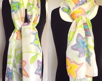 Hand Painted Silk Habotai Scarf, Summer Garden of Colourful Flowers on White - Blue, Mauve, Coral, Pink, Yellow with Lime Leaves, 14x72""