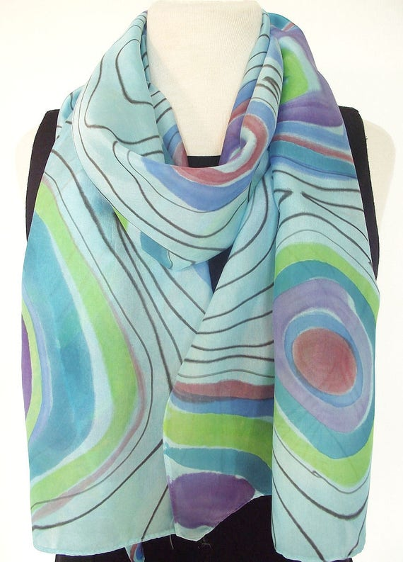 Hand Painted Silk Habotai Scarf,  One of a kind Abstract Design in Turquoise, Lime, Lavender and Plum on Light Blue - 14 x 72""