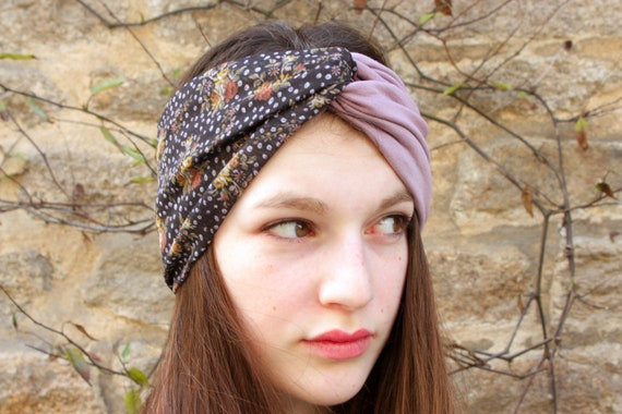 Headband, Turban, hair Retro bicolor - purple flower satin, gray purple Viscose and Cotton Jersey