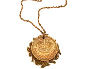 Danish coin necklace with vintage floral wreath, Denmark 1990