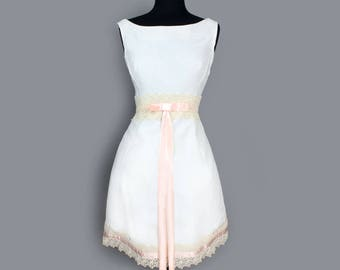 1960's White & Pink Lace Party Dress - Medium, Wedding Dress