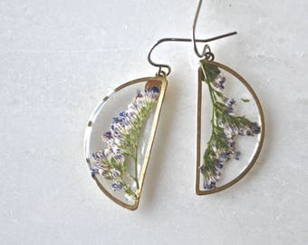 Caspia Half Moon Earrings, Pressed Flower Jewelry, Botanical Jewelry, Bridal Jewelry