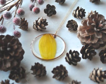 Gold Sunflower Petal Necklace Pressed Flower Jewelry Botanical 14k Gold Fill Chain