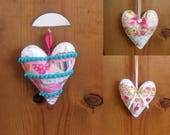 Peluche Patchwork coeur ornements/suspension Decor/Saint-Valentin avec une couleur turquoise en feutre support