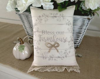 Bless this Farmhouse Muslin Decorative Accent Pillow Farmhouse Inspired Pillow