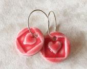 Red Porcelain Heart Earrings-Handcrafted Porcelain Hearts-Valentine's Day Earrings-Gift for Valentine-Artisan Heart Earrings