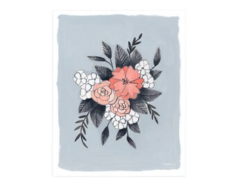 Floral Spray Periwinkle - 8x10 // 1canoe2 // Hand illustrated