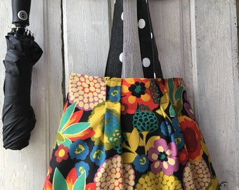 Tote shopping bag hand made shoulder bag with colorful flowers market bag hand bag