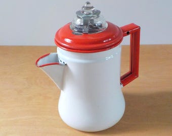 Vintage Enamelware Coffee Pot • Shabby Red and White Metal Coffee Pot • Gardella Break No More Lid