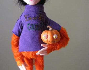 Halloween monster lowbrow figure art doll polymer clay ooak sculpture one of a kind by mealy monster land
