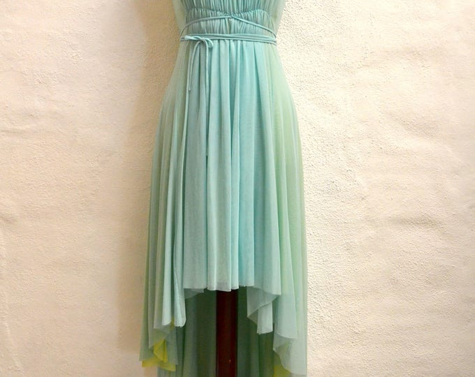 Beautiful GRECIAN Style LAYERED Pleated Vintage DRESS with a High-Low Hem