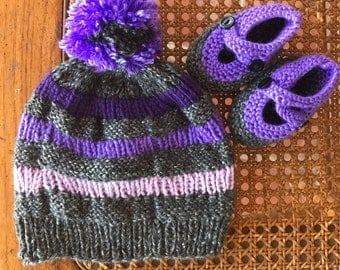 Handknit purple and grey child's beanie with matching slippers