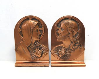 Vintage Copper Book Ends 1953/ Mary & Jesus Christ Sacred Heart / Catholic Christian Decor