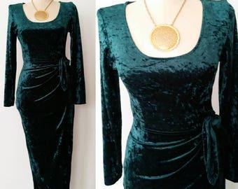 80s / 90s Vtg Crushed Velvet Dress / Emerald Green Sarong Dress
