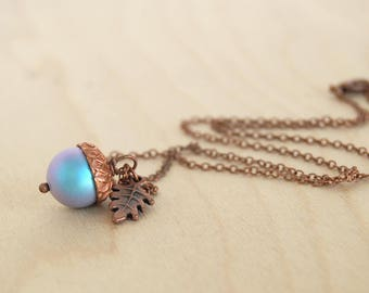 Tide Pool Magic Acorn Necklace   Iridescent Light Blue and Copper Acorn Pendant   Something Blue Wedding Jewelry   Fall Acorn Charm Necklace