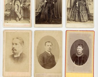 6 Old CDV Photo Cards