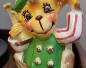 Cute Vintage Monkey Planter, Holding a Horn, Cute and Colorful, Signed