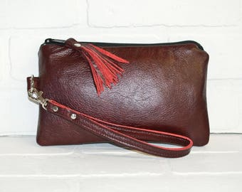 repurposed, burgundy leather clutch, wrist clutch, wristlet, phone wallet, purse, make up bag, red clutch, handmade, upcycled, stacylynnc