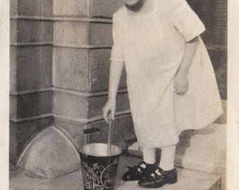 Original Vintage Photograph Snapshot Girl With Hair Bow & Pail Bucket 1910s