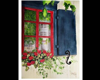Note Card Set-Blue Shutters-Watercolour