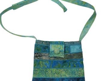 Batik Purse in Aqua Blues with Adjustable Straps