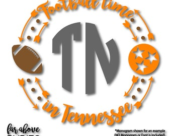 Football Time in Tennessee TN Tristar Monogram Wreath (monogram NOT included) SVG, eps, dxf, png, jpg digital cut file Silhouette or Cricut