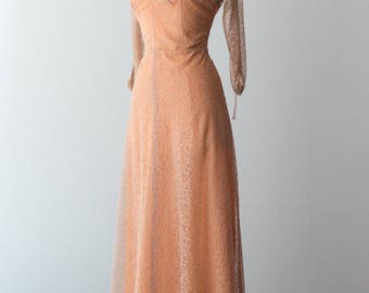 Vintage 1940s Dress - Floor Length, Peach 40s Gown w/ Latte Lace Overlay, Long Sleeves & Collared Wrap Style Bustline // Waist 30