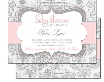Girl Baby Shower Invitation | Baby Pink Silver Gray Baby Shower Invitation Girl | Pink Grey Damask Girl Baby Shower Invitation | Custom