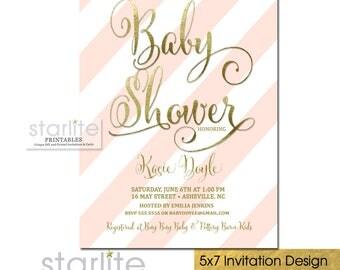 Baby Shower Invitation Blush Pink Stripes | Pink and Gold Girl Baby Shower Invite | Baby Shower Invitation | Printable Digital or Printed