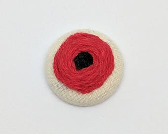 Poppy Flower Button Embroidery Red Floral Garden Meadow Black Earring Pin Jewelry Magnet