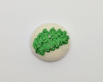 Fern Leaf Button Embroidery Forest Woodland Plant Earring Pin Jewelry Magnet