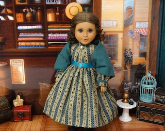 Mercantile Teal - Civil War or Prairie dress for American Girl doll with undergarments and boots