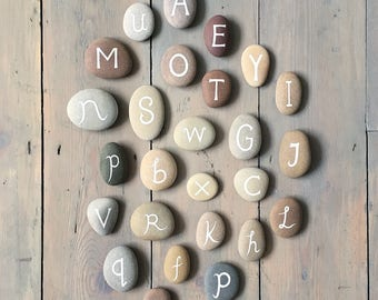 Alphabet - Commission a Collection of 26 Painted Stones - Hand Lettered, A-Z, Letters - by Natasha Newton