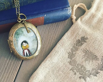 Antique Locket - A Grand Adventure - reader necklace pendant, gifts for teachers bookworms, steampunk locket