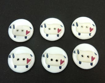 6 Sheep buttons. Primitive Off White Sheep and Heart Sewing Buttons.