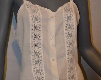 Cotton white and lace button down halter top. Spaghetti straps. Small. Medium.  Bust 36