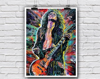 """Jimmy Page Poster 18 x 24"""" - Jimmy Page - Led Zeppelin 70s rock and roll drugs guitar player"""