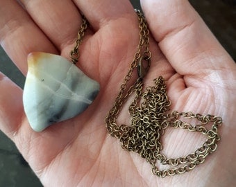 "Amazonite Antique Brass Necklace - Nickel Free - 35"" Long"