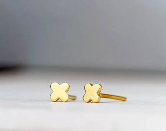 Tiny Cross Earrings 14k solid Gold X earrings Plus Sign Rose Gold Post Earring Geometric Jewelry Rose Gold Moon Valentine gift