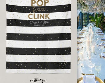 Black and Gold Wedding, Engagement Party Backdrop, Bridal Party Ideas, Party Selfie Station, Wedding Selfie Photo Booth // W-A28-TP REG1 AA3