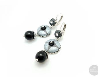 Handmade unique earrings black and grey