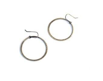 Large Sterling Silver Hoop Earrings, Hand Stamped Silver Earrings, Geometric Jewelry, Artisan Earrings, Oxidized Silver Earrings
