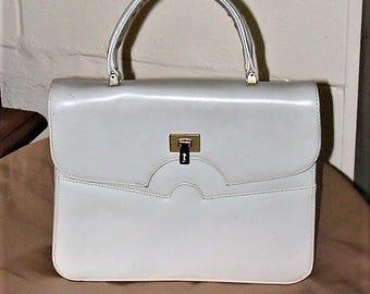 Vintage Dofan Leather Handbag -  Top Handle Purse - Beige Leather Bag - Sixties - Kelly Style