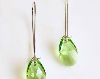 long peridot earrings - peridot crystal earrings - peridot green earrings - Swarovski crystal - light green earrings - greenery