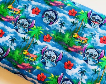Disney Stitch Hawaii Night cotton woven sewing quilting fabric by the yard SC-16051